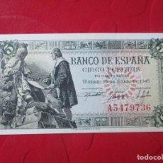 Billetes españoles: BILLETE DE 5 PESETAS. 15 DE JULIO DE 1945. Lote 155386542