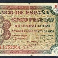 Billetes españoles: CMC 5 PESETAS 10 AGOSTO 1938 SERIE A MBC. Lote 155476694