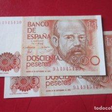 Billetes españoles: BILLETE DE 200 PESETAS 18 DE SEPTIEMBRE 1980. CLARIN SERIE ESPECIAL 9A. PAREJA CORRELATIVA. Lote 155492242