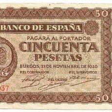 Billetes españoles: BILLETE DE 50 PESETAS, DE 21 DE NOVIEMBRE DE 1936. BURGOS. SERIE P. LOTE 1044. Lote 155666014