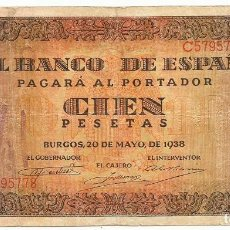 Billetes españoles: BILLETE DE 100 PESETAS DE 20 DE MAYO DE 1938. BURGOS, SERIE C LOTE 1045. Lote 155666810