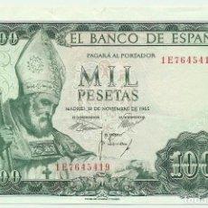 Billetes españoles: BILLETE DE 1000 PESETAS DE 19 DE NOVIEMBRE DE 1965, SERIE 1E. LOTE 1048. Lote 155669982