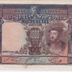 Billetes españoles: BILLETES DE ALFONSO XIII QUE CIRCULARON DURANTE LA II REPÚBLICA 1000 PESETAS 1925 SIN SERIE. EBC+. Lote 155692842
