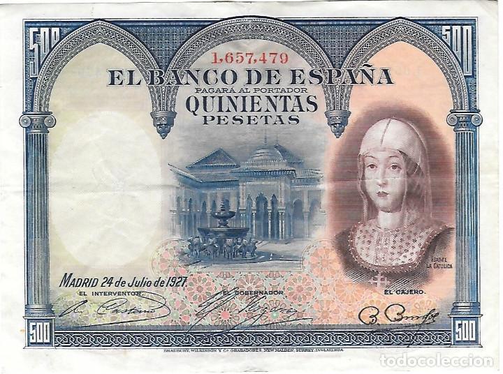 BILLETE DE 500 PESETAS DEL AÑO 1927 (Numismática - Notafilia - Billetes Españoles)