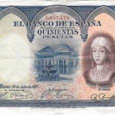Billetes españoles: BILLETE DE 500 PESETAS DEL AÑO 1927. Lote 155726930