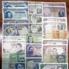 Billetes españoles: 30 BILLETES DE ALFONSO XIII, 2ª REPUBLICA, DEL ESTADO ESPAÑOL Y JUAN CARLOS I. LOTE 1049. Lote 155738066