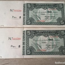 Billetes españoles: 5 PTAS DE 1937, BANCO URQUIJO, NUMERADA Y CON MATRIZ, S/CIRCULAR , MUY DIFICIL PAREJA CORRELATIVA. Lote 155752982