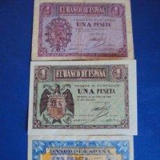 Billetes españoles: (BI-3)LOTE DE 3 BILLETES DE 1 PTS. 1937 - 1938 - 1940. Lote 155756970