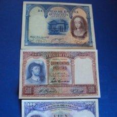 Billetes españoles: (BI-4)LOTE DE BILLETES 1(100 PTS.) Y 2 (500 PTS.). Lote 155757286