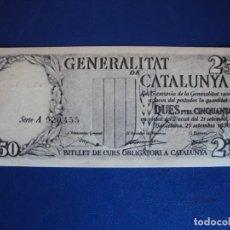 Billetes españoles: (BI-5)GENERALITAT DE CATALUNYA - BARCELONA 2,50 PESETAS - SEPTIEMBRE DE 1936 - SERIE NEGRO. Lote 155758070