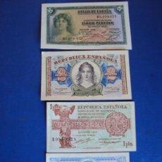 Billetes españoles: (BI-3A)LOTE DE 4 BILLETES 50 CTS. - 1 PTS. - 2 PTS. - 5 PTS.. Lote 155758694