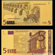 Billetes españoles: BILLETE DE 5 EUROS LAMINADO EN ORO 24KT - ESPAÑA EUROS. Lote 155768830
