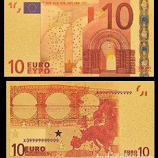 Billetes españoles: BILLETE DE 10 EUROS LAMINADO EN ORO 24KT - ESPAÑA EUROS. Lote 155769354