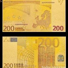 Billetes españoles: BILLETE DE 200 EUROS LAMINADO EN ORO 24KT - ESPAÑA EUROS. Lote 155769494