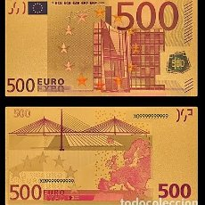 Billetes españoles: BILLETE DE 500 EUROS LAMINADO EN ORO 24KT - ESPAÑA EUROS. Lote 155770070