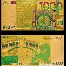 Billetes españoles: BILLETE DE 1000 EUROS LAMINADO EN ORO 24KT - ESPAÑA EUROS. Lote 155770698