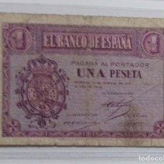 Billetes españoles: ESPAÑA /SPAIN /SPANIEN BANKNOTE BILLETE 1 PESETA 1937 12 OCTUBRE MBC- *PAGO SOLO PAYPAL. Lote 155790666