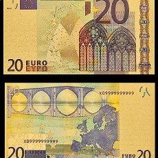 Billetes españoles: BILLETE DE 20 EUROS LAMINADO EN ORO 24KT - ESPAÑA EUROS. Lote 155922734