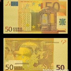 Billetes españoles: BILLETE DE 50 EUROS LAMINADO EN ORO 24KT - ESPAÑA EUROS. Lote 155922866