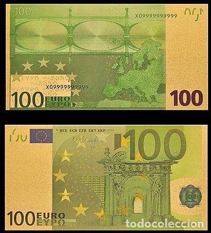 BILLETE DE 100 EUROS LAMINADO EN ORO 24KT - ESPAÑA EUROS (Numismática - Notafilia - Billetes Españoles)