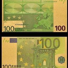 Billetes españoles: BILLETE DE 100 EUROS LAMINADO EN ORO 24KT - ESPAÑA EUROS. Lote 155922958