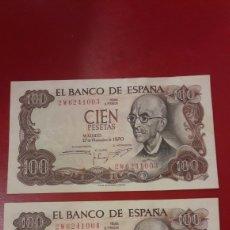 Billetes españoles: BILLETES 100 PESETAS 1970 ESPAÑA CORRELATIVOS SERIE 2W. Lote 156550949