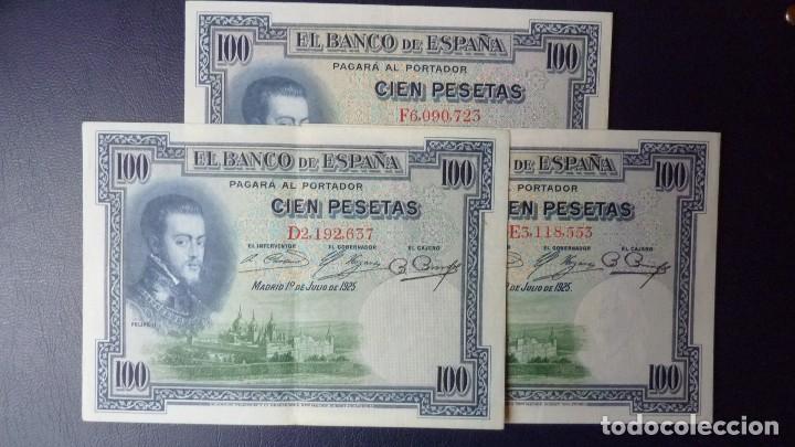 ESPAÑA 100 PESETAS 1-JULIO 1925-SERIE-D,E,F-LOTE 3 BILLETES.E.B.C.+ (Numismática - Notafilia - Billetes Españoles)