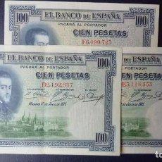 Billetes españoles: ESPAÑA 100 PESETAS 1-JULIO 1925-SERIE-D,E,F-LOTE 3 BILLETES.E.B.C.+. Lote 156755626