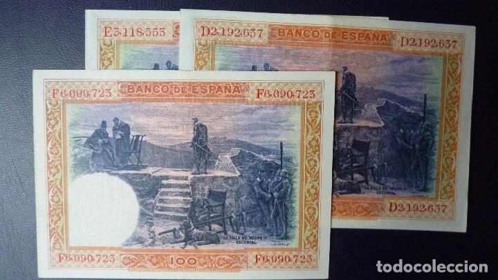 Billetes españoles: España 100 pesetas 1-julio 1925-serie-D,E,F-Lote 3 billetes.E.B.C.+ - Foto 2 - 156755626
