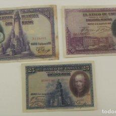Billetes españoles: LOTE DE BILLETES 100 50 Y 25 PESETAS 1928. Lote 157690502