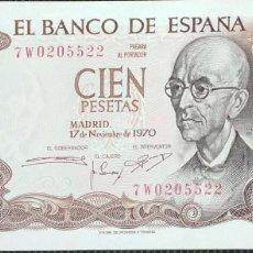 Billetes españoles: 100 PESETAS 1970 SERIE 7W, ULTIMA EMITIDA, SIN CIRCULAR/PLANCHA. Lote 157771462