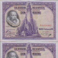 Billetes españoles: BILLETES ESPAÑOLES - ALFONSO XIII - 100 PESETAS 1928 - SERIE A (PAREJA CORRELATIVA - (SC-). Lote 158588114