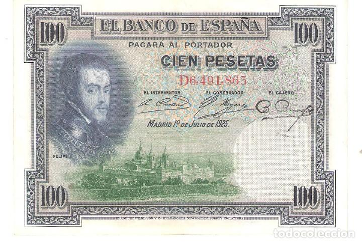 BILLETE DE ESPAÑA DE 100 PESETAS DE 1925 CIRCULADO FELIPE II (Numismática - Notafilia - Billetes Españoles)