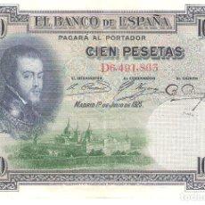 Billetes españoles: BILLETE DE ESPAÑA DE 100 PESETAS DE 1925 CIRCULADO FELIPE II. Lote 158803882