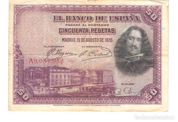 BILLETE DE ESPAÑA DE 50 PESETAS DE 1928 CIRCULADO VELAZQUEZ (Numismática - Notafilia - Billetes Españoles)