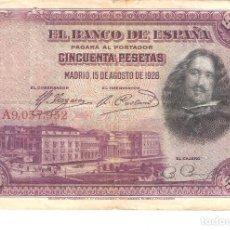 Billetes españoles: BILLETE DE ESPAÑA DE 50 PESETAS DE 1928 CIRCULADO VELAZQUEZ. Lote 158804230