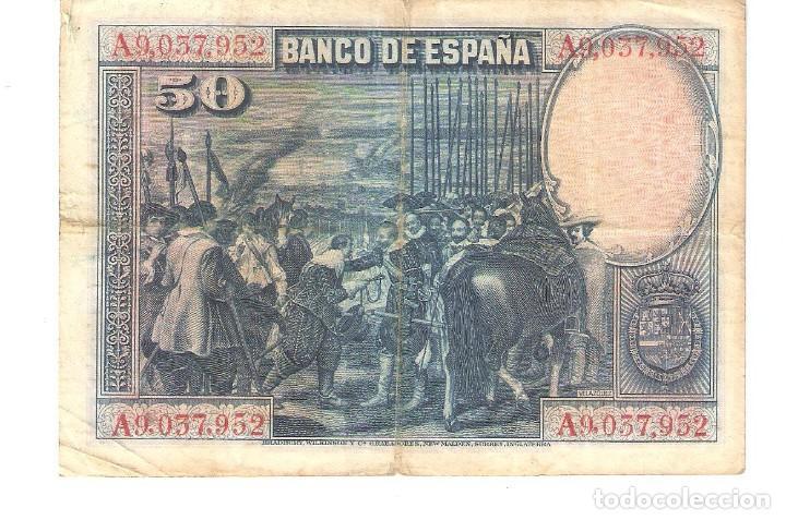 Billetes españoles: BILLETE DE ESPAÑA DE 50 PESETAS DE 1928 CIRCULADO VELAZQUEZ - Foto 2 - 158804230