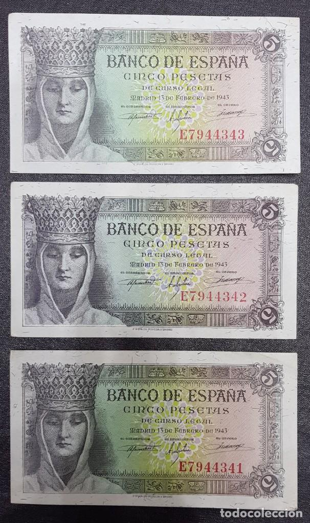 3 BILLETES CORRELATIVOS DE 5 PESETAS DE 13 DE FEBRERO DE 1943 SERIE E SC (Numismática - Notafilia - Billetes Españoles)