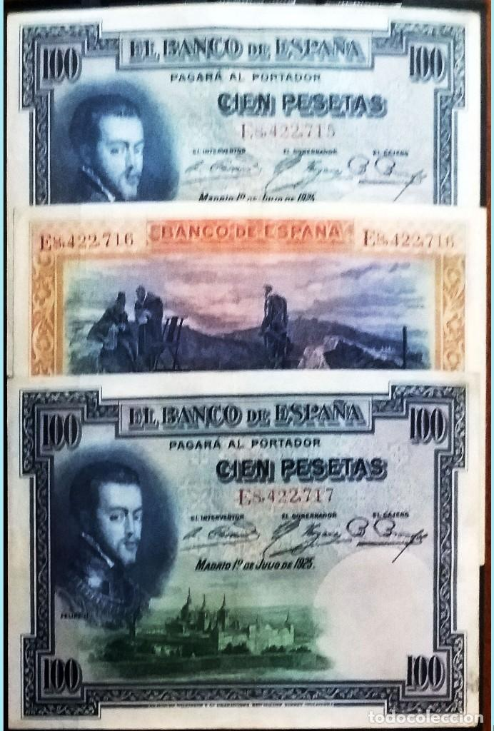 BILLETE ESPAÑOL 3 NÚMEROS SEGUIDOS 100 PESETAS EBC+/SC-. FELIPE II MADRID 1 JULIO 1925 SERIE E (Numismática - Notafilia - Billetes Españoles)