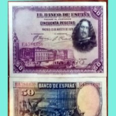 Billetes españoles: BILLETE ESPAÑOL 2 NÚMEROS SEGUIDOS 50 PESETAS EBC+SC-.VELAZQUEZ.MADRID 15 AGOSTO.1928 SERIE B. Lote 210742917