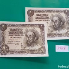 Billets espagnols: PAREJA CORRELATIVA 1 PESETA DEL ESTADO ESPAÑOL. 19451 S.C. Lote 159511850