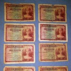 Billetes españoles: 8 BILLETES DE 10 PESETAS AÑO 1935 SIN SERIE VER FOTOS Y DESCRIPCION. Lote 159734726