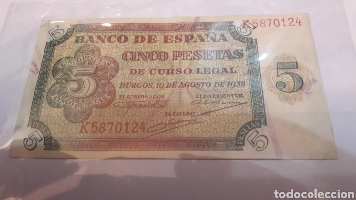 ESPAÑA 1938 BURGOS 10 AGOSTO 5 PESETAS SERIE K 5870124 NUMISMÁTICA COLISEVM (Numismática - Notafilia - Billetes Españoles)