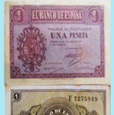 Billetes españoles: ESTADO ESPAÑOL, BURGOS 1 PESETA 12 DE OCTUBRE DE 1937, CON LETRA DE SERIE - F- SIN CIRCULAR.. Lote 160252814