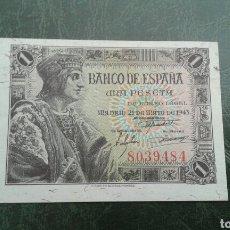 Billetes españoles: BILLETE 1 PESETA AÑO 1943.SIN SERIE. Lote 160286044