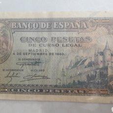 Billetes españoles: 1940 4 SEPTIEMBRE ESPAÑA BILLETE 5 PESETAS SERIE A 5747285. Lote 160328090