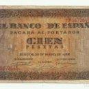 Billetes españoles: BILLETE DE 100 PESETAS DE 20 DE MAYO DE 1938. BURGOS, SERIE F LOTE 1053. Lote 160381026