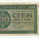 Billetes españoles: BILLETE DE 100 PESETAS DE 21 DE NOVIEMBRE DE 1936. BURGOS. SERIE X. LOTE 1054. Lote 160381834
