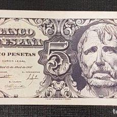 Billetes españoles: BILLETE 5 PESETAS 1947 SENECA SIN SERIE. Lote 160842502