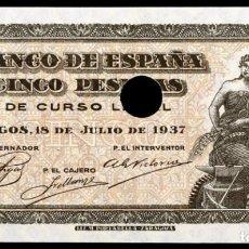 Billetes españoles: 5 PESETAS 1937 SERIE C S/C. Lote 161151418